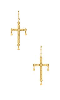 Серьги quartz cross - Luv AJ