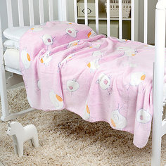 Плед-покрывало Птичка 100х150 Velsoft 2-стороннее оверлок, Baby Nice, розовый
