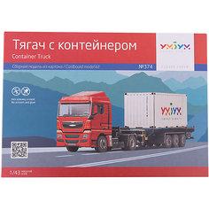 """Сборная модель """"Тягач с контейнером"""" Умная Бумага"""
