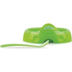 Двухсекционная  тарелка с ложкой, Nuby, зеленый