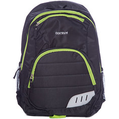 Спортивный рюкзак, черный с зеленым кантом Centrum