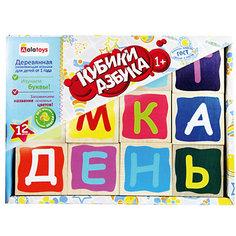 """Деревянные кубики Alatoys """"Азбука"""", 12 штук (окрашенные)"""