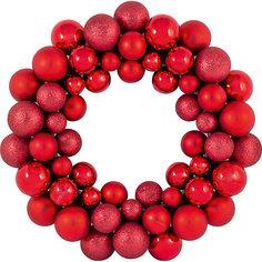 Новогодний венок из шариков Magic Land, 33 см (красный) Волшебная Страна