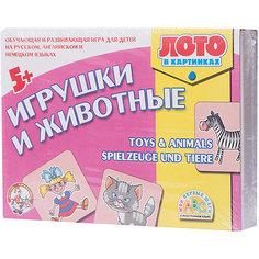 """Лото в картинках для обучения детей английскому и немецкому """"Игрушки и животные"""" Десятое королевство"""