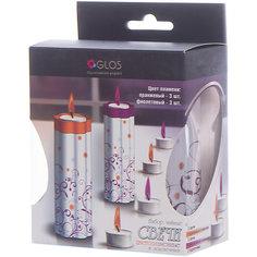 Чайные свечи с цветным пламенем и 2 подсвечника, GLOS