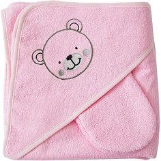 Махровое полотенце с уголком, 75х75 см., Baby Nice, розовый