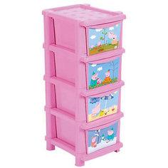 """Комод для детской комнаты Little Angel """"Свинка Пеппа"""", 4 ящика (розовый)"""