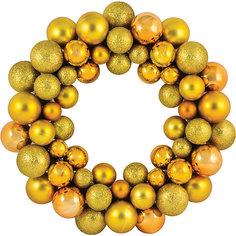 Новогодний венок из шариков Magic Land, 33 см (желтый) Волшебная Страна