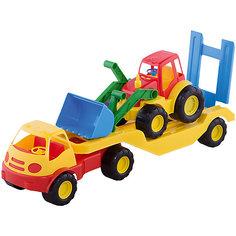 """Машинка Mochtoys """"Погрузчик"""" с прицепом и трактором"""