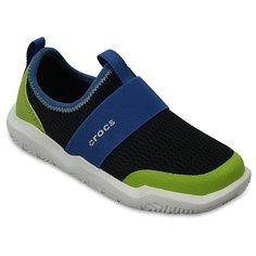 Кроссовки Kids Swiftwater Easy-On Shoes, черный, зеленый Crocs