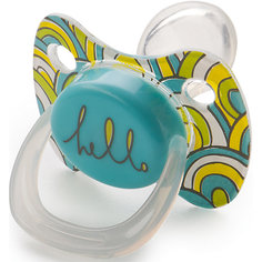 Соска-пустышка ортодонтической формы с колпачком, с 12 мес., Happy Baby, голубой