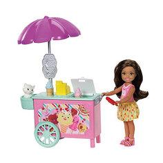 Игровой набор с мини-куклой Barbie Челси с тележкой мороженого Mattel