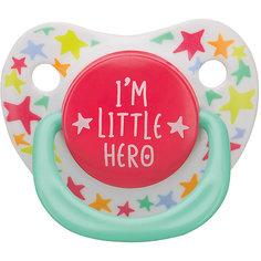 "Соска-пустышка с колпачком ""I am a hero"", с 0 мес., Happy Baby"