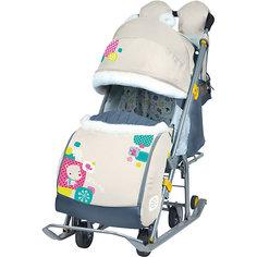 Санки-коляска Ника детям  7-2, Коллаж-мишка, бежевый Nika