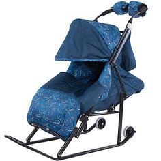 Санки-коляска ABC Academy Зимняя Сказка 3В, черная рама, синий/космос