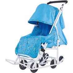 Санки-коляска ABC Academy Зимняя Сказка 2 Люкс, белая рама, голубой/зоопарк