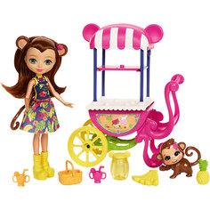 Кукла Enchantimals Мерит Мартыша с тележкой для фруктов Mattel