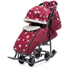 Санки-коляска ABC Academy Pikate Звезды на тёмно-серой раме, бордовый