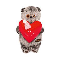 Мягкая игрушка Budi Basa Кот Басик с сердечком, 19 см