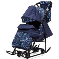 Санки-коляска ABC Academy Зимняя Сказка 3В + ВК , черная рама, синий/зоопарк