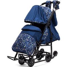 Санки-коляска ABC Academy Зимняя Сказка 3В Люкс, черная рама, синий/зоопарк