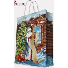 """Подарочный пакет """"Дед Мороз со списком"""" 17,8*22,9*9,8 см Magic Time"""