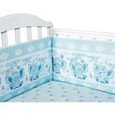 Бортик в кроватку Слоник Элит бязь Люкс, Baby Nice, голубой