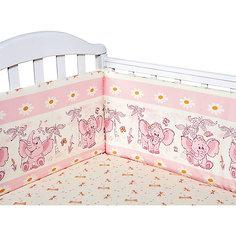 Бортик в кроватку Слоник Элит бязь Люкс, Baby Nice, розовый