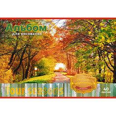 Альбом  для рисования 40 листов, обложка тиснение золотой фольгой, на скобе. Обложка Осень Апплика