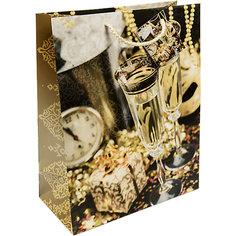 Бумажный пакет Золотые бокалы для сувенирной продукции , с ламинацией Magic Time