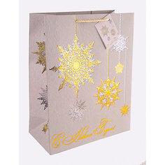 Бумажный пакет Золото и серебро для сувенирной продукции, с ламинацией Magic Time