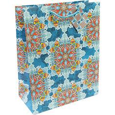 Бумажный пакет Яркий калейдоскоп для сувенирной продукции , с ламинацией Magic Time