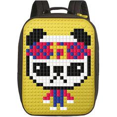 Пиксельный рюкзак большой (ортопедическая спинка) Upixel «Canvas classic pixel Backpack», желтый