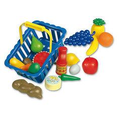 """Игровой набор Dohany """"Овощи и фрукты"""" в большой корзине, голубой"""