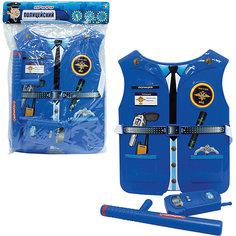 Набор 1toy костюм Профи с жилетом- Полицейский 39х28х4 см., 2 предмета, размер жилета 26х32*0,5 см.