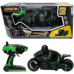 1toy Драйв, мотоцикл с гонщиком на р/у, 2,4GHz, езда с наклоном, свет фар, с АКБ 700mAh Ni-CD, зеленый