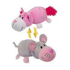 Мягкая игрушка-вывернушка 2 в 1 1Toy Розовый кот-Мышь, 35 см