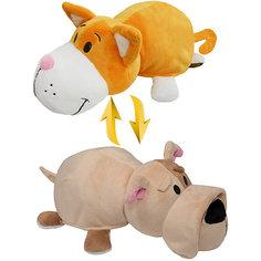 Мягкая игрушка-вывернушка 2 в 1 1Toy Оранжевый кот-Бульдог, 28 см