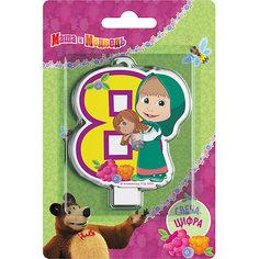 """Свеча для торта Росмэн """"Маша и Медведь. Свеча-цифра 8"""""""