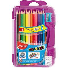 Набор цветных карандашей в пенале КАР COLORPEPS, 12 цв. Maped