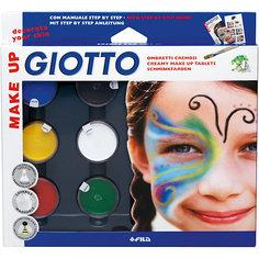 Грим-краски на восковой основе в баночках 5 цв*5 мл, белый цвет*10мл, с кистью и спонжем. Giotto