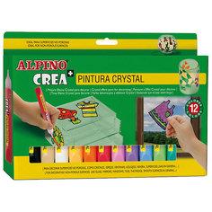 Гелевые карандаши Cristal Paint (гель-краски для витражной росписи), 12 цв. + шаблоны и подложки. Alpino