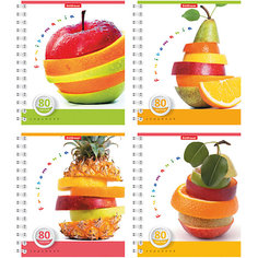 "Тетрадь на спирали, 80 листов ""Fruitomania"", УФ-лак, упаковка из 4 шт. Erich Krause"