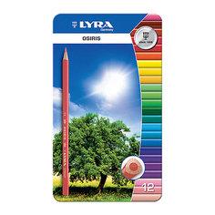 Цветные треугольные карандаши в металлическом пенале, 12 шт. Lyra