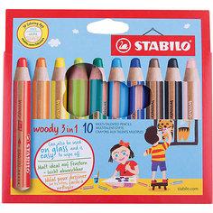 Набор цветных карандашей Stabilo woody 10цв, картон