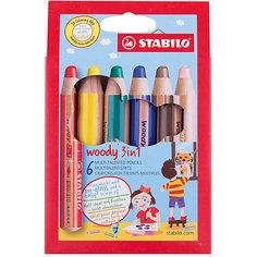 Набор цветных карандашей Stabilo woody 6цв, картон