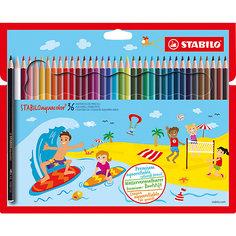 Набор цветных карандашей Stabilo Aquacolor 36цв, картон