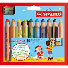 Набор супертолстых цветных карандашей Stabilo Woody 10цв+точилка, картон, new design