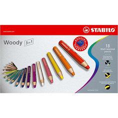 Набор цветных карандашей Stabilo Woody 18 цв+точилка, картон