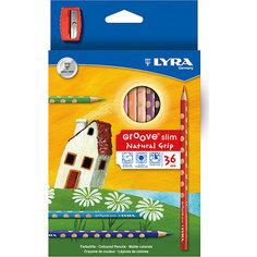 Цветные карандаши GROOVE с эргономичными выемками, 36 цветов Lyra